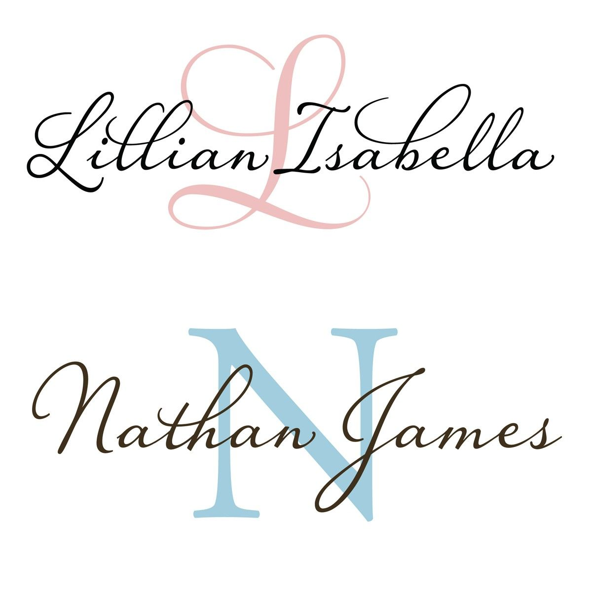 Large Baby Name And Initial Monogram For Nursery Vinyl Wall Decal - Monogram vinyl wall decals for girls