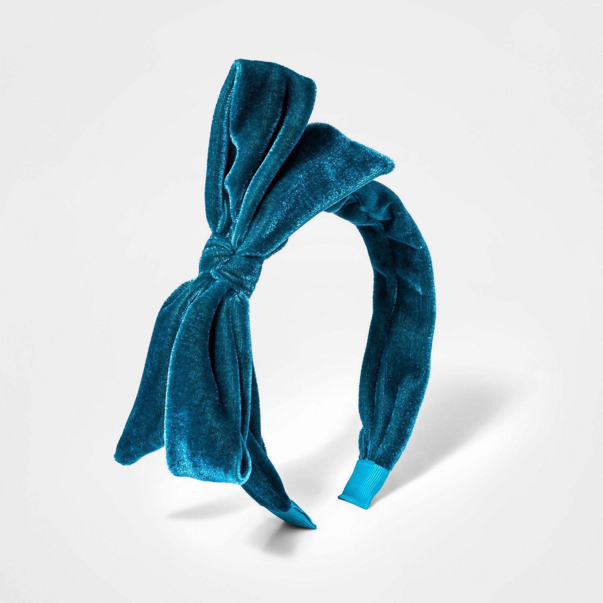 Toddler Girls' Velvet Bow Headband - Cat & Jack Teal (Blue ...