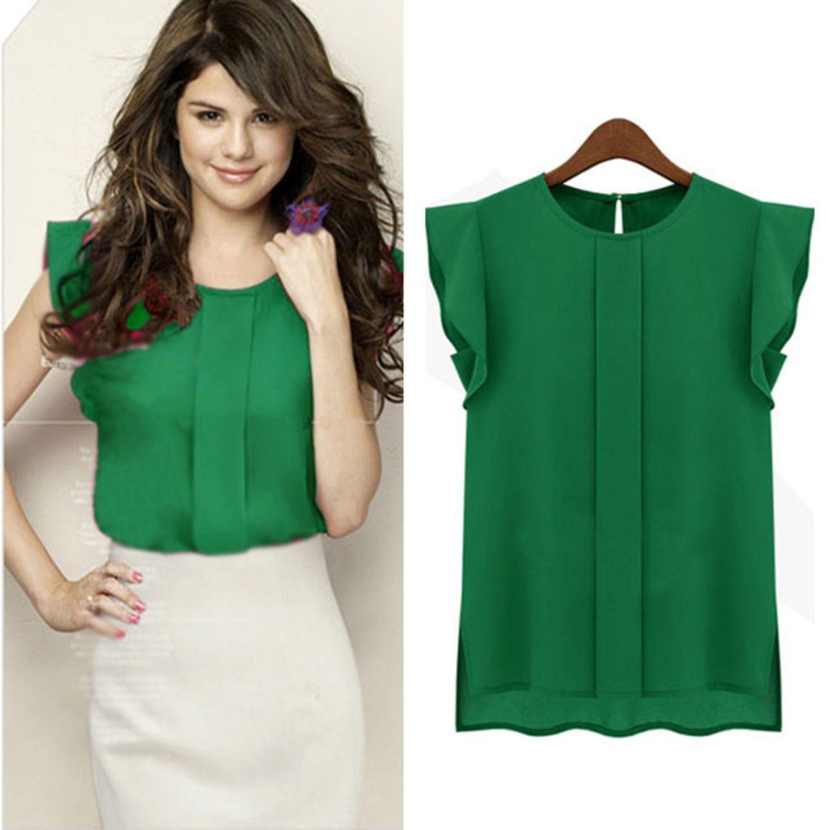 6e0ef5cec1 Blusa Paris feminina Verde Lisa Manga Curta Blusa Paris verde blusa Lisa  Manga Curta detalhe fechamento nas costas Blusa verde