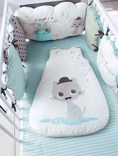 tour de lit bébé chat Tour de lit modulable MOUSTACHAT   gris/bleu | Babies, Patchwork  tour de lit bébé chat