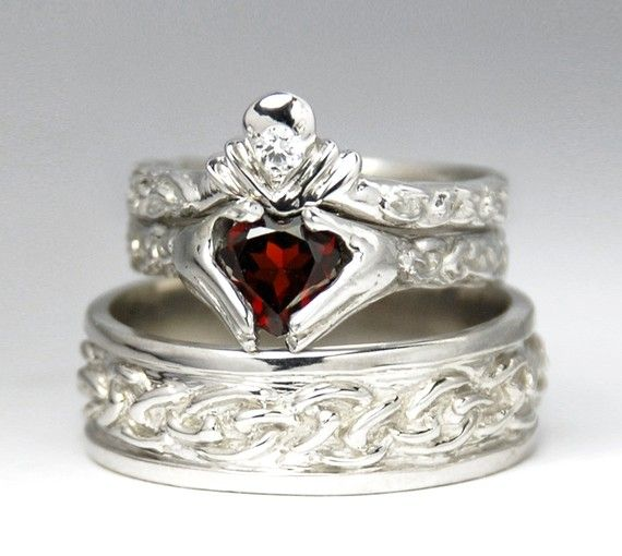 Claddagh Wedding Set New White Gold Diamond Garnet Engagement Ring Men S Celtic Band Rickson