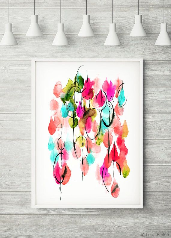 Drops Of Light Bright Color Poster Abstract Art By LesiaBinkinArt Red Wall