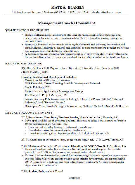 Chronological Resume Example Management Coach Consultant
