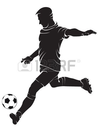 Football (soccer) player with ball, isolated on white. Vector ...