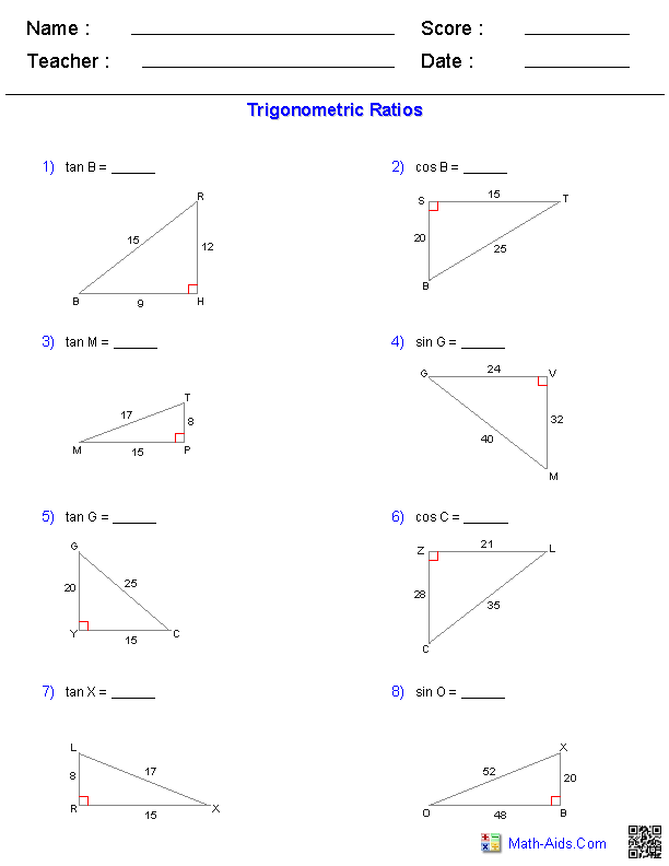 Geometry Worksheets Trigonometry Worksheets Geometry Worksheets Trigonometry Worksheets Trigonometry
