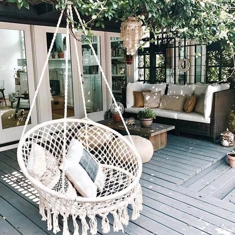 Handmade Knitted Round Hammock Outdoor Swing Bed Chair Hanging Comfort Kids New Length Of The Chair Including The Rope Swing Chair Outdoor Balcony Decor Home