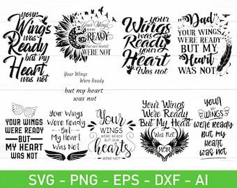 BUNDLE rememberance svg memorial svg your wings were ready   Etsy