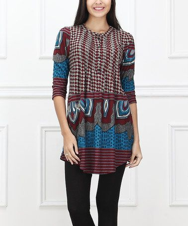 Another great find on #zulily! Blue & Burgundy Abstract Notch Neck Tunic #zulilyfinds