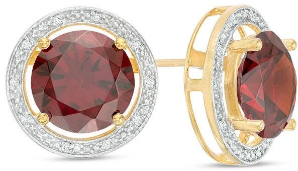 Zales 6.0mm Lab-Created Ruby and Diamond Accent Frame Stud Earrings in 10K Gold 5J8WvTX1