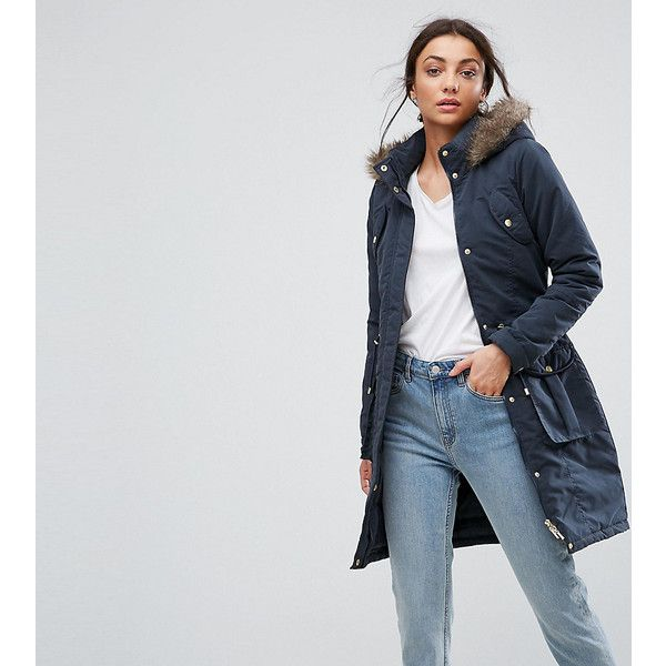 Ladies Navy Parka Coat