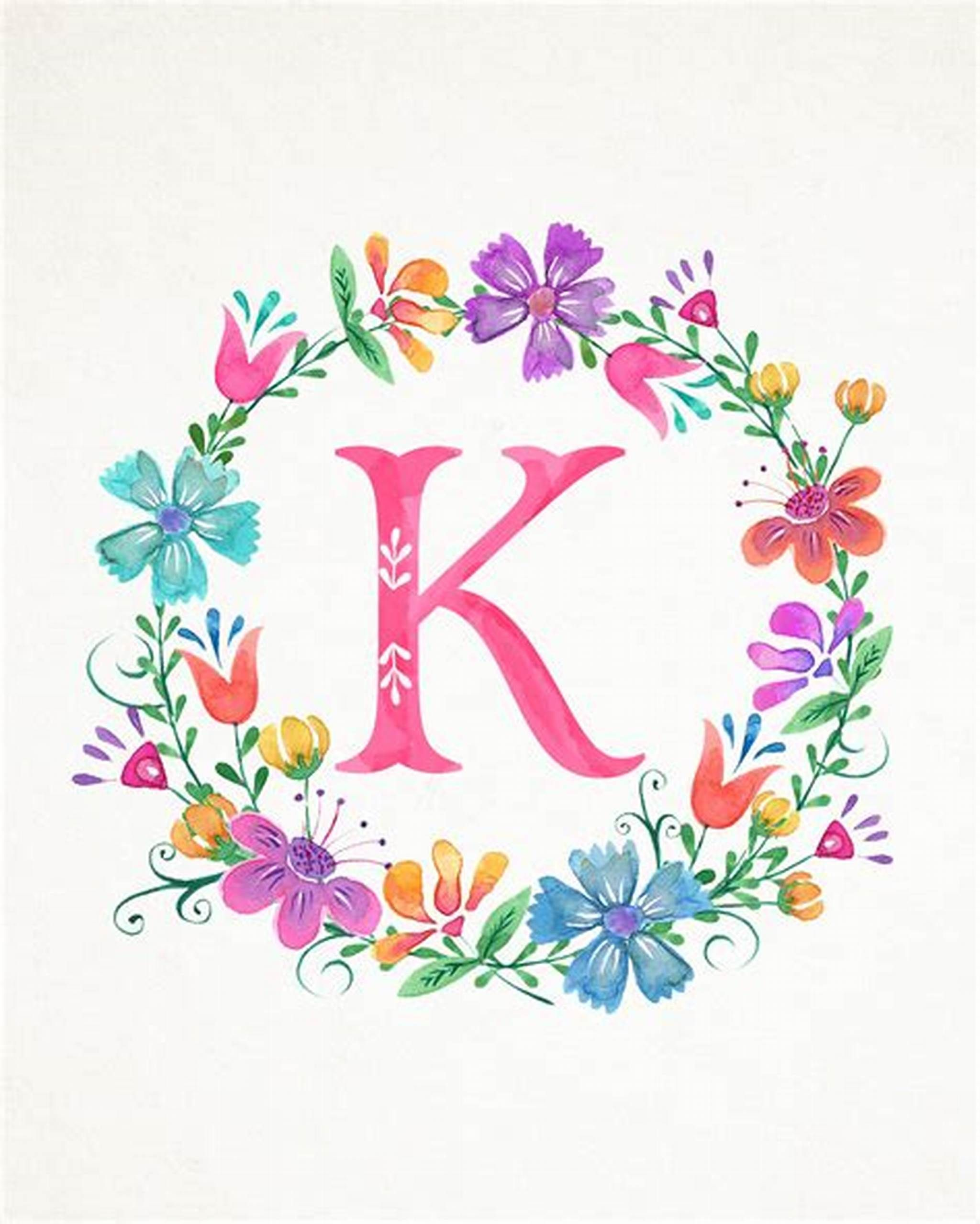 Pin By Kenda Davis 3 Peat On Special K Alphabet Wallpaper Watercolor Lettering Floral Letters