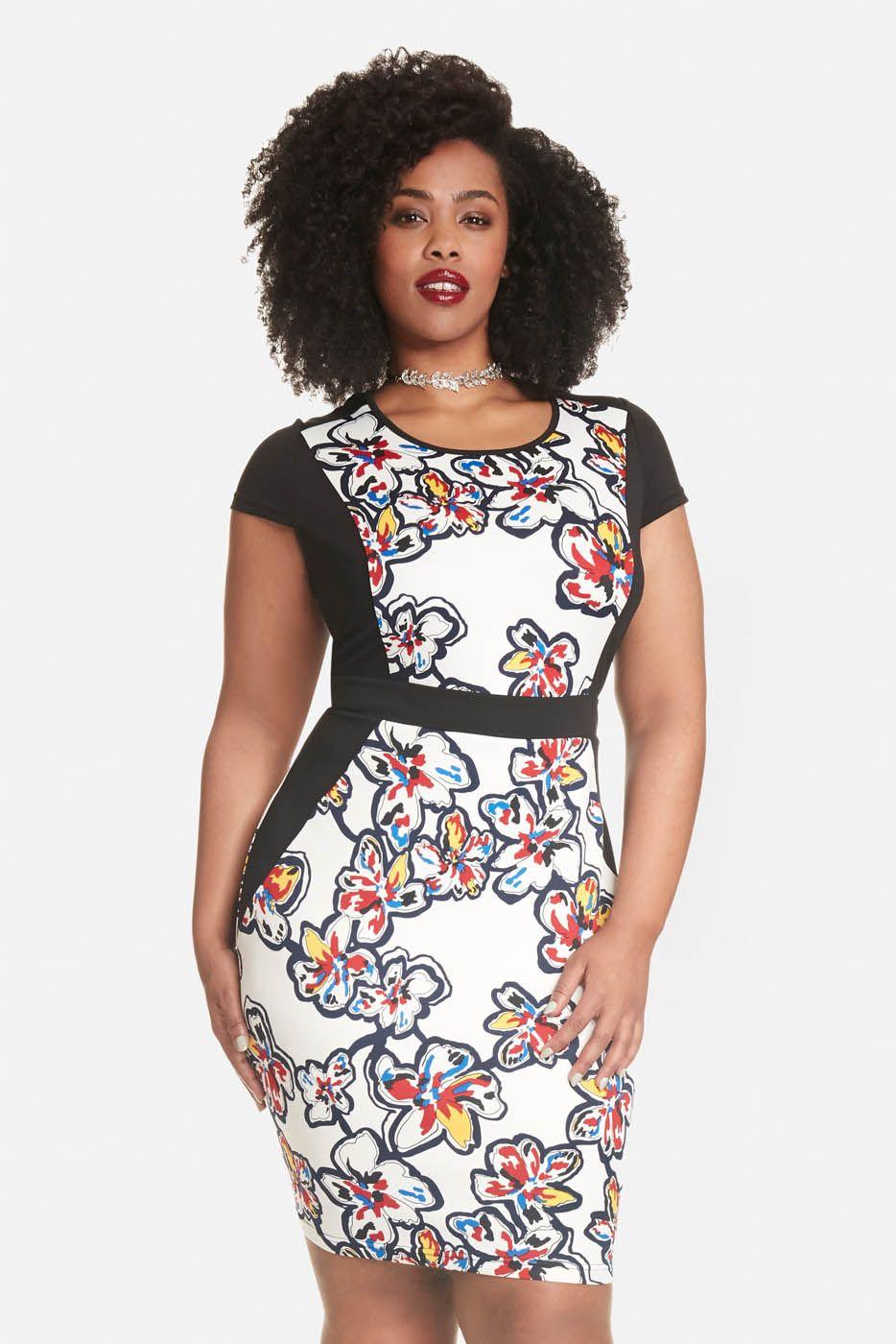 955a9b5e98d Plus Size Ruth Floral Color-Block Bodycon Dress