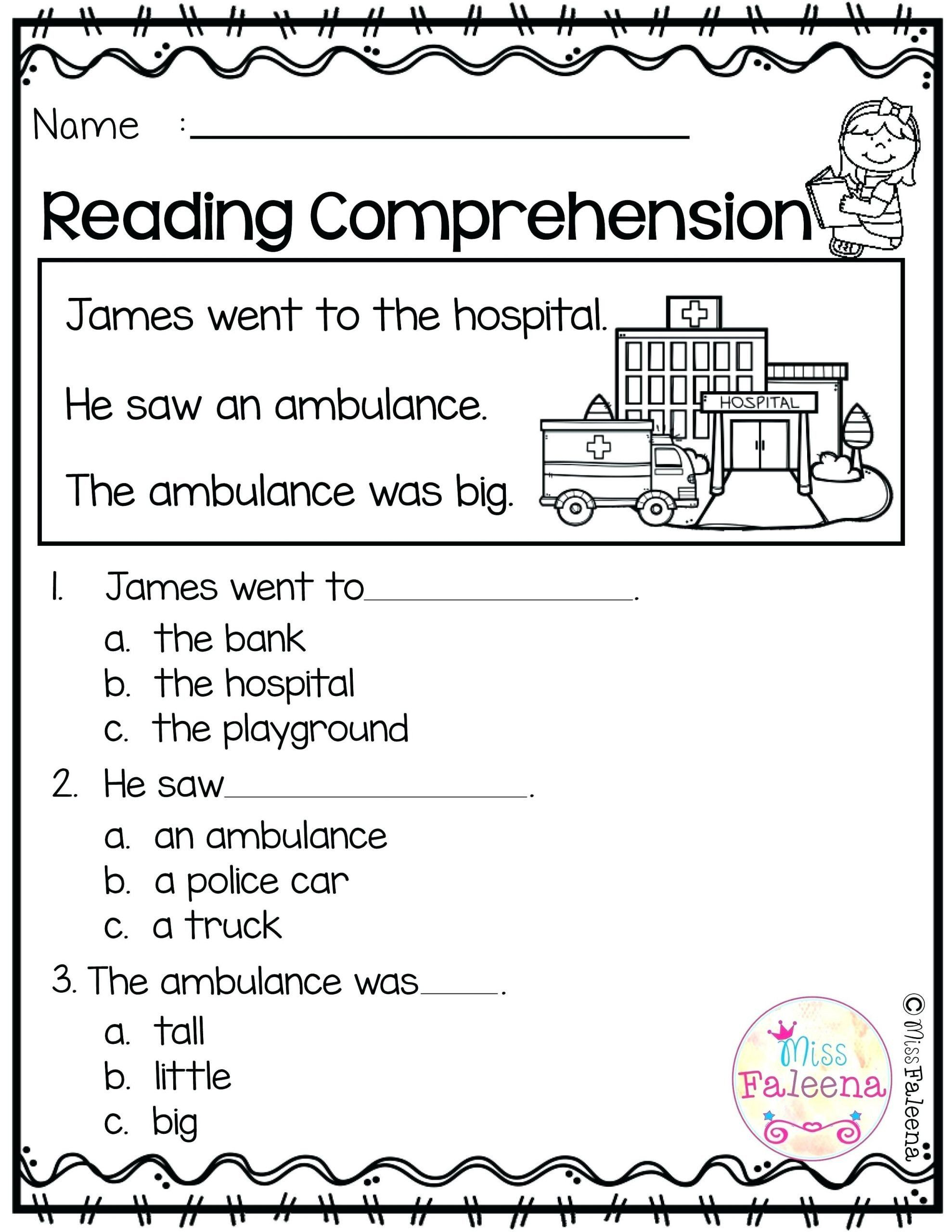 Kindergarten Reading Comprehension Worksheets 8