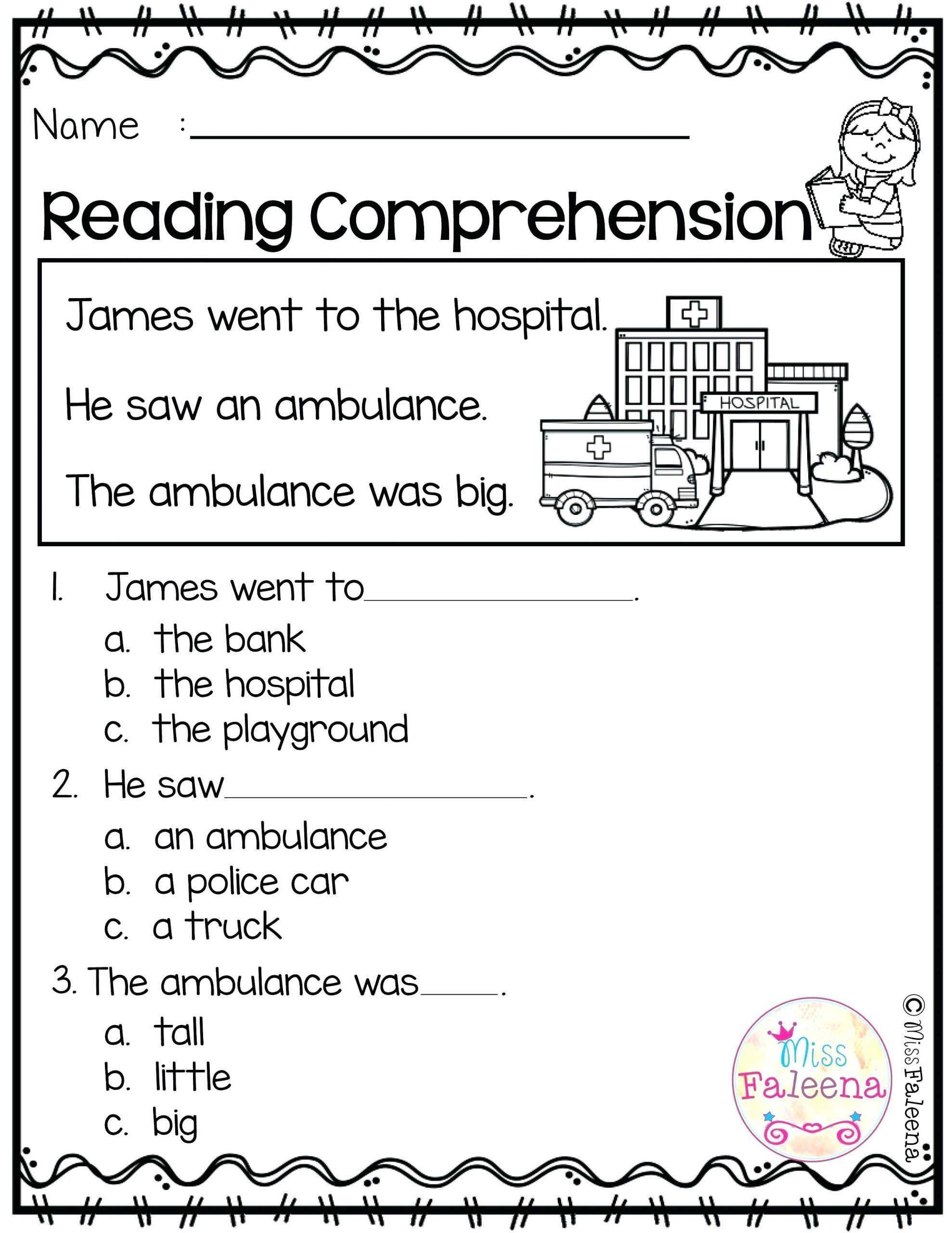 Kindergarten Reading Comprehension Worksheets 8