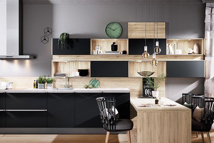 AV 6000 Schwarz Mattlack Regal mit Schiebetüren #design #style - häcker küchen systemat