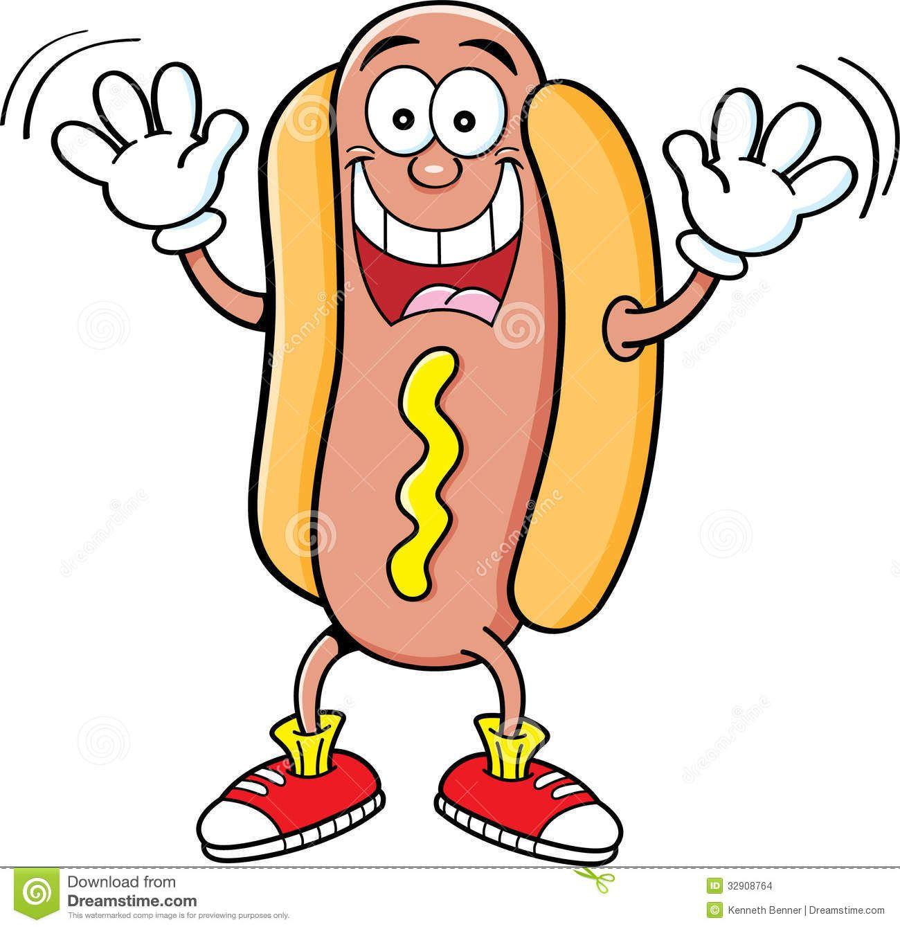 Cartoon Hotdog Waving Stock Images Image 32908764 With Images