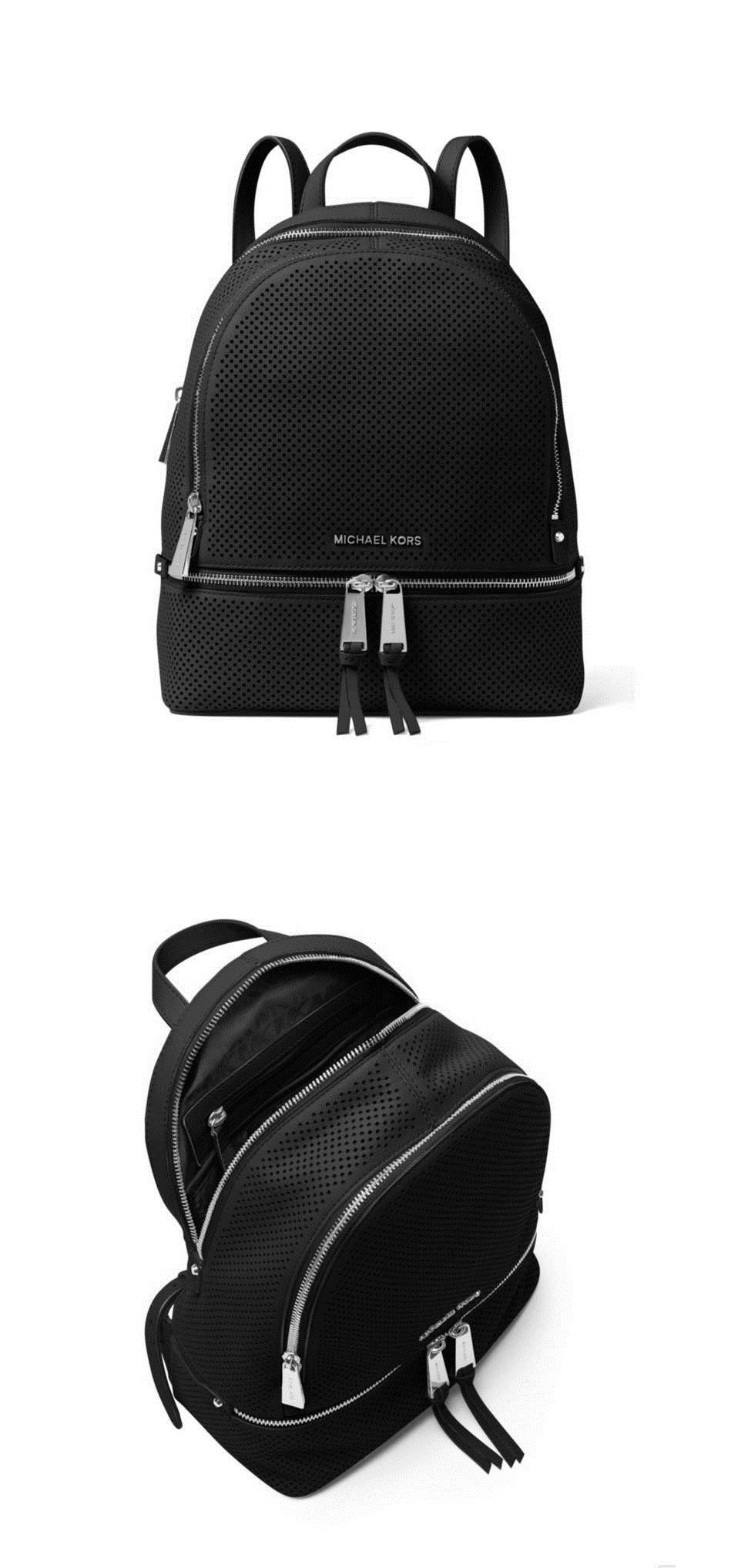 d31c5d18b40f ... reduced backpacks and bookbags 169292 nwt michael kors rhea women  medium backpack perforated leather black silver
