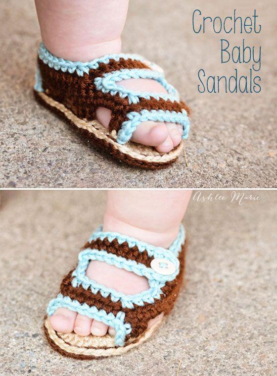 not much cuter than sweet fat baby feet, make these crochet sandals ...