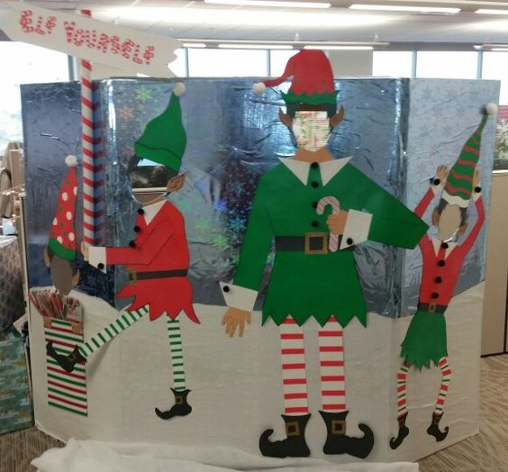 Elf Yourself Photo Booth Office Christmas Decorations Christmas Photo Booth Christmas Cubicle Decorations