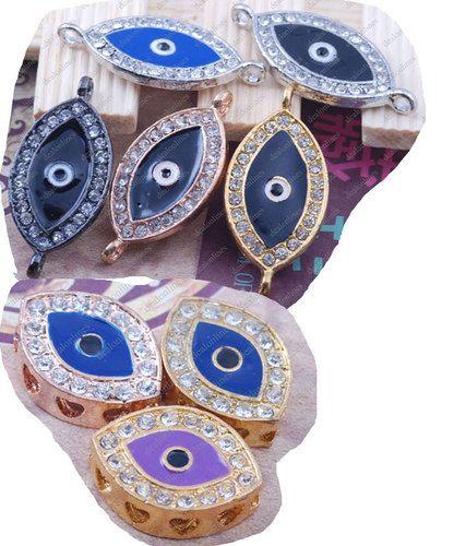 Crystal Rhinestone Evil Eye Bracelet Connector Charms Bead Spacer Greek Turkish | eBay