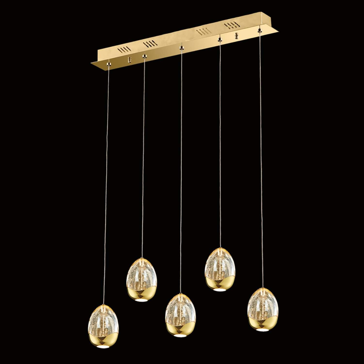 Illuminati Terrene Five Light Linear Gold Pendant From Chandelier Shack