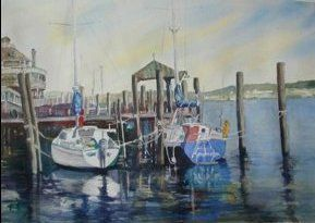 "Local artists Jean Bowers and Sonia Hunt will exhibit a new show of their works at The Buttery Restaurant on Second Street in Lewes. The opening is Sunday, March 24, 2013, with a reception in the Garden Room from 4 to 6 p.m. Click on ""Lewes Docks,"" watercolor by Sonia Hunt to read entire art exhibit article: Local artists Jean Bowers and Sonia Hunt to show works at The Buttery March 24-April 20"