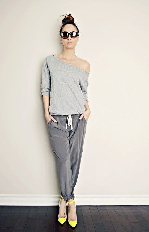 Silky Joggers - - bright yellow ankle strap heels- - assymetrical neckline sweater