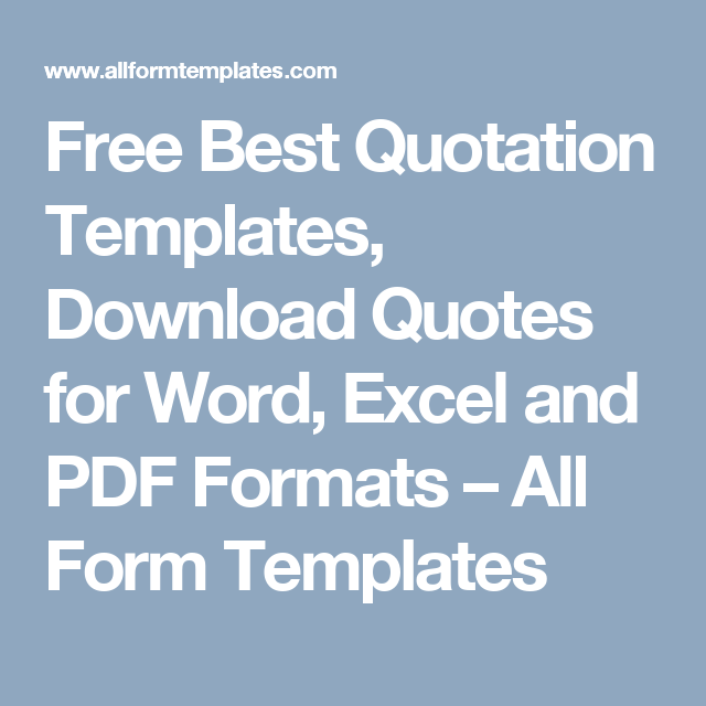 Free Best Quotation Templates Download Quotes For Word Excel And