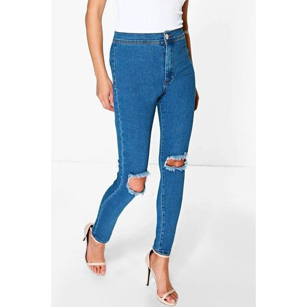 Boohoo Blue Lara High Rise Ink Blue Knee Slits Skinny Jeans ($44) ❤ liked on Polyvore featuring jeans, blue, white distressed skinny jeans, high waisted white skinny jeans, high-waisted boyfriend jeans, high waisted ripped skinny jeans and white high waisted jeans