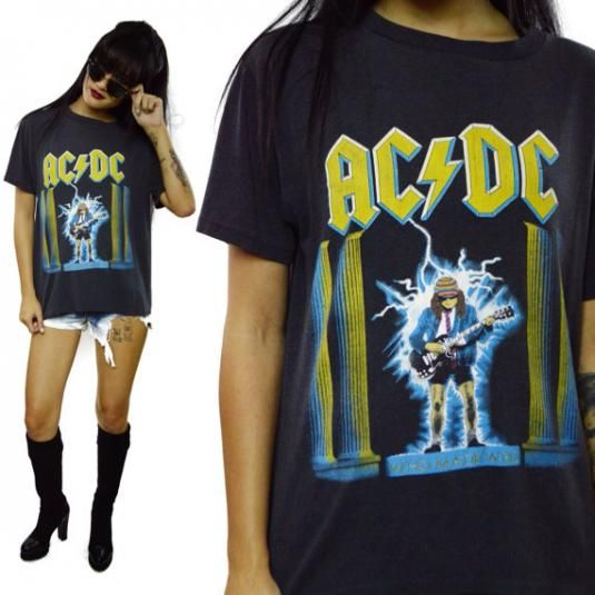Vintage 80s Ac Dc Who Made Who 50 50 T Shirt Sz L Vintage Rock T Shirts Vintage Shirts Shirts