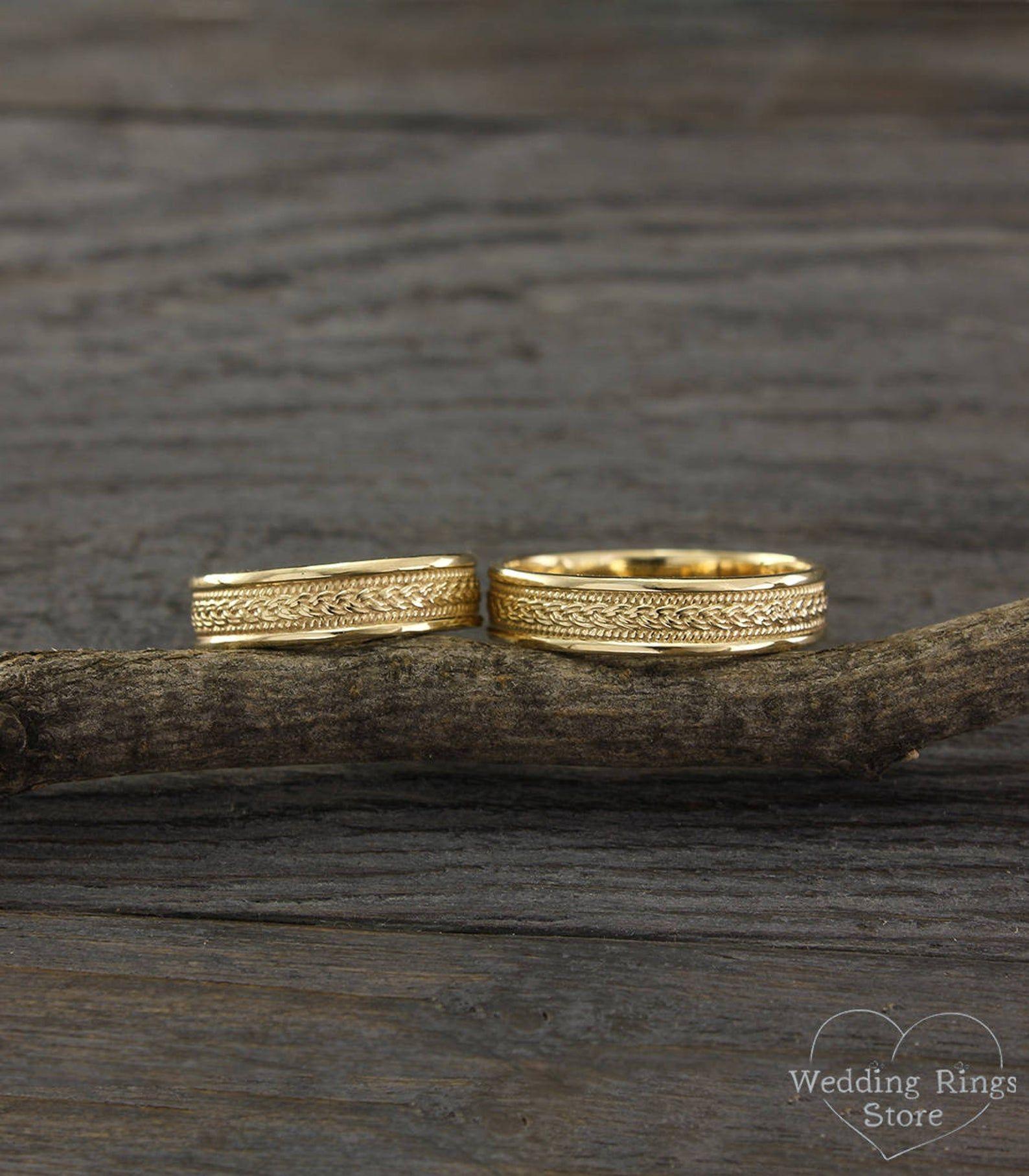 Braided wedding rings set Filigree wedding bands Unique
