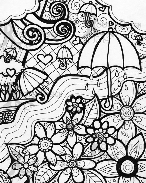 instant download coloring page april showers bring may flowers print zentangle inspired doodle art - Download Colouring Pages