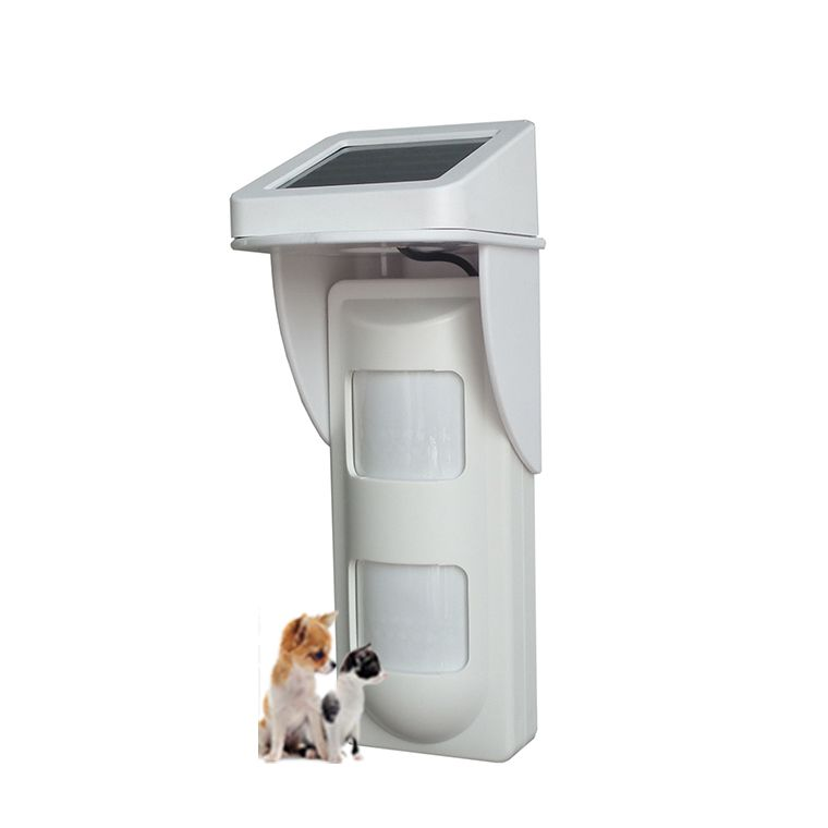 solar power wireless outdoor alarm motion detector with built in batterypet use
