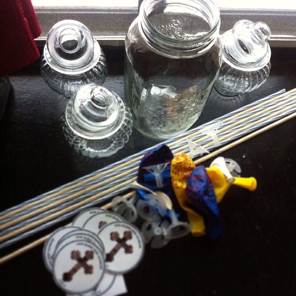 An upcoming DIY baptismal giveaways.. Balloons + Cheeky Jars + Sticker tag