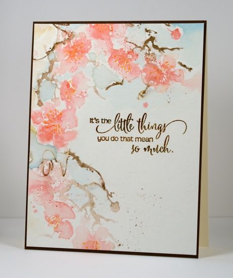 I made this card back in spring when there was blossom on the trees here; now they are bare and everything is looking a bit drab outside. I worked wet into wet with distress stains to ink th...