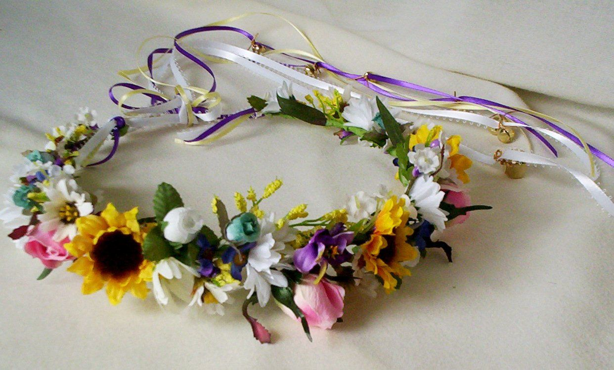 Jingling Crown Spring Hair Crown Hippie Flower Halo Sunflower By