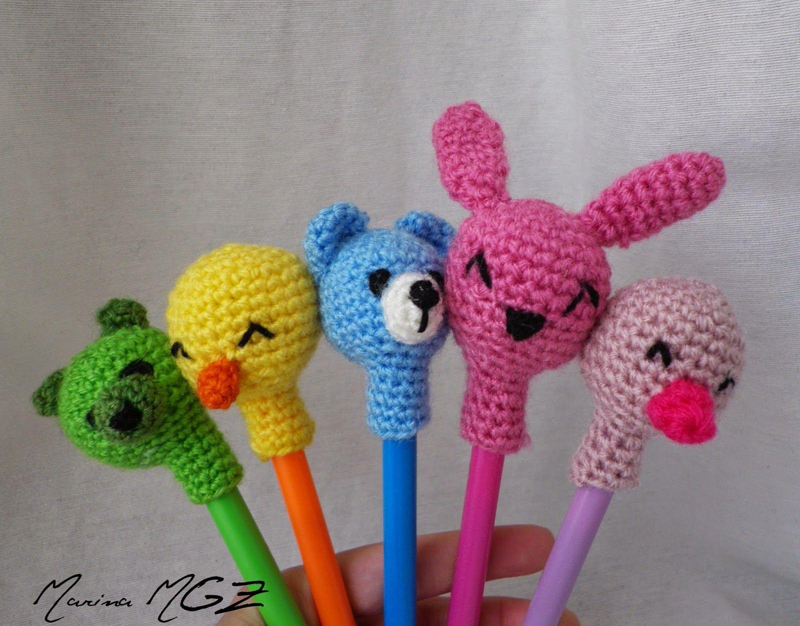 Amigurumi Bunny Pencil Holder : Patrón amigurumi gratis de cabezas de animalitos para lapices
