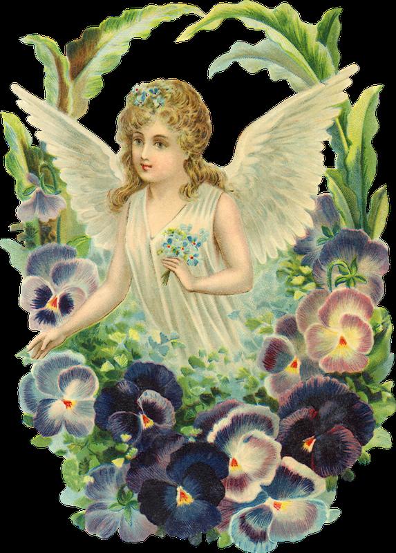 Днем рождения, рисунок винтажные ангелы