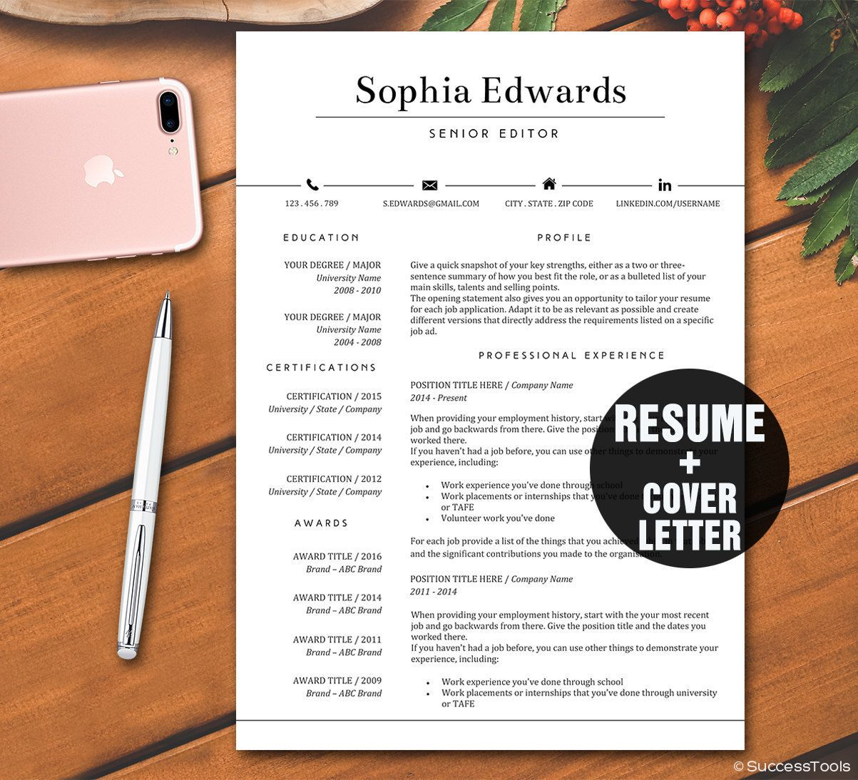 DIY Resume Template, Modern Resume Instant Download, Simple Resume ...