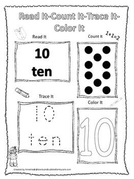 Numbers Read, Count, Trace, Color the numbers 1-20  Preschool