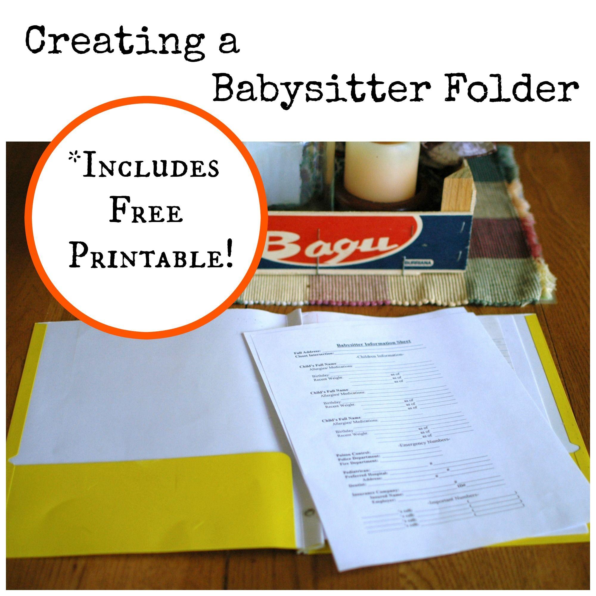 Creating A Babysitter Folder Free Printable Babysitter Free Printables Babysitting Jobs