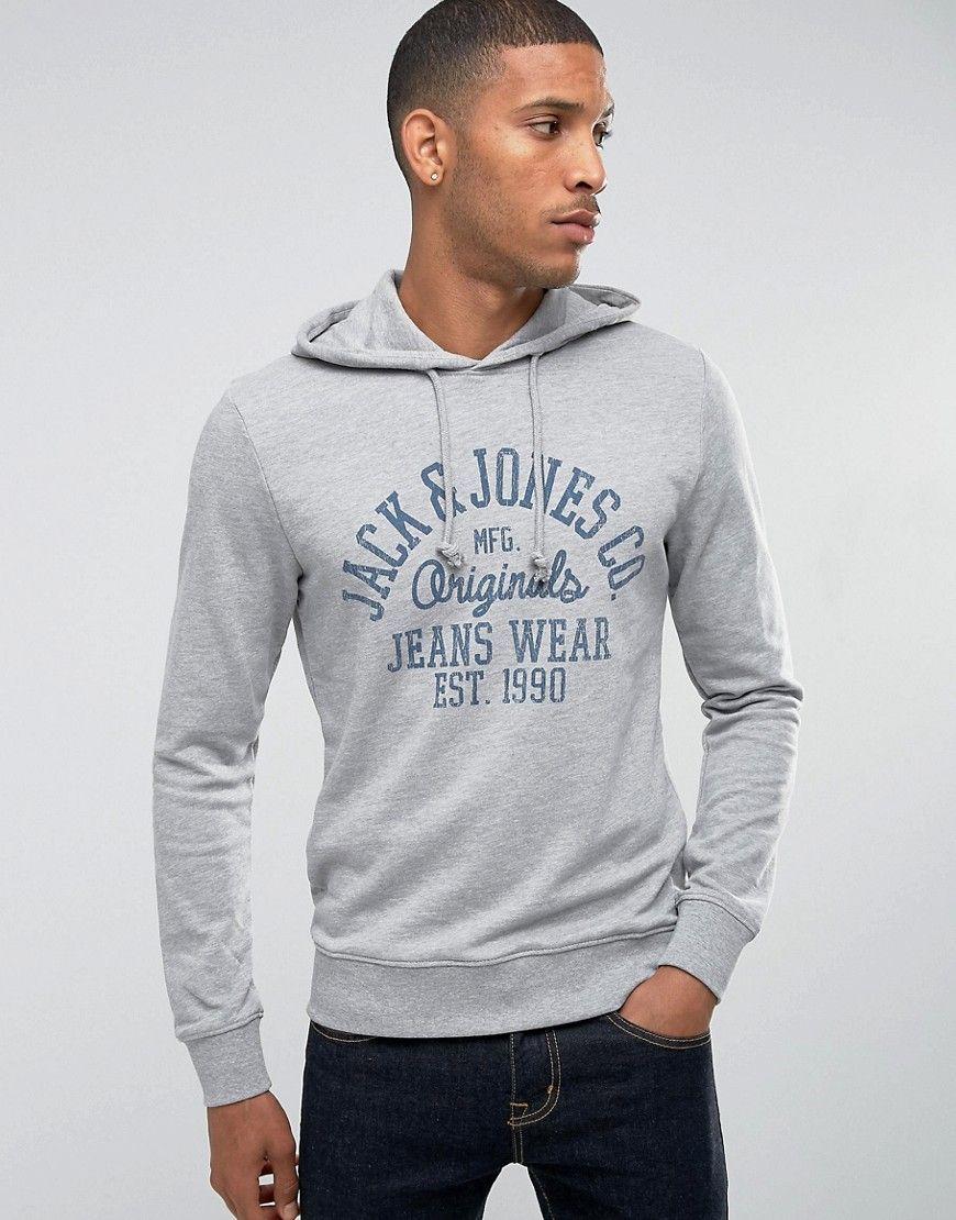 Jack Jones Hooded Sweatshirt Gray Mens Sweatshirts Hooded Sweatshirt Men Latest Fashion Clothes [ 1110 x 870 Pixel ]
