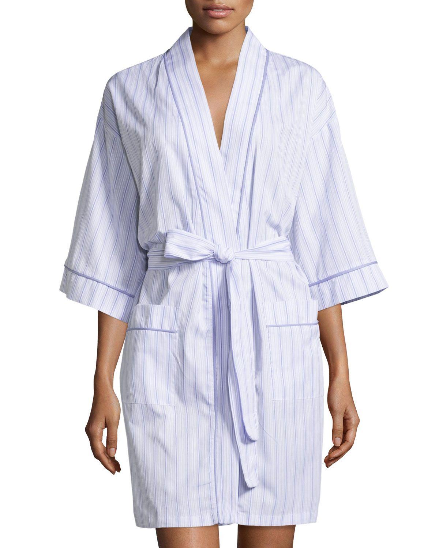 Striped Kimono Short Robe, Lavender, Women\'s, Size: S, Lavender ...