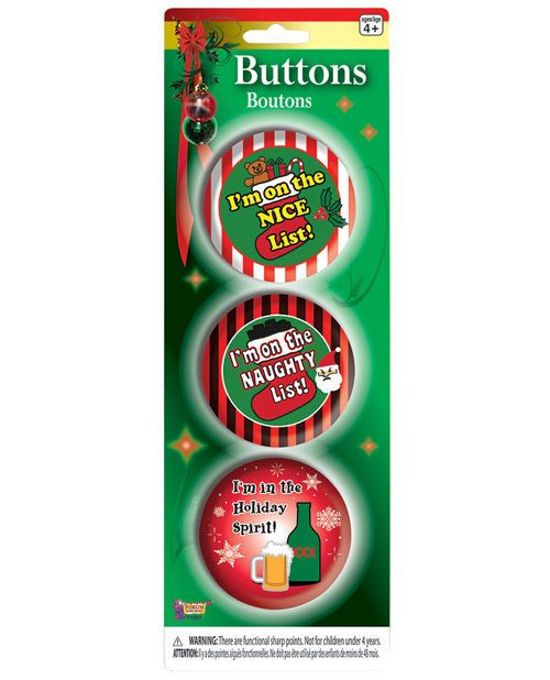 Details about Christmas Buttons Set Funny Naughty Nice Holiday Beer