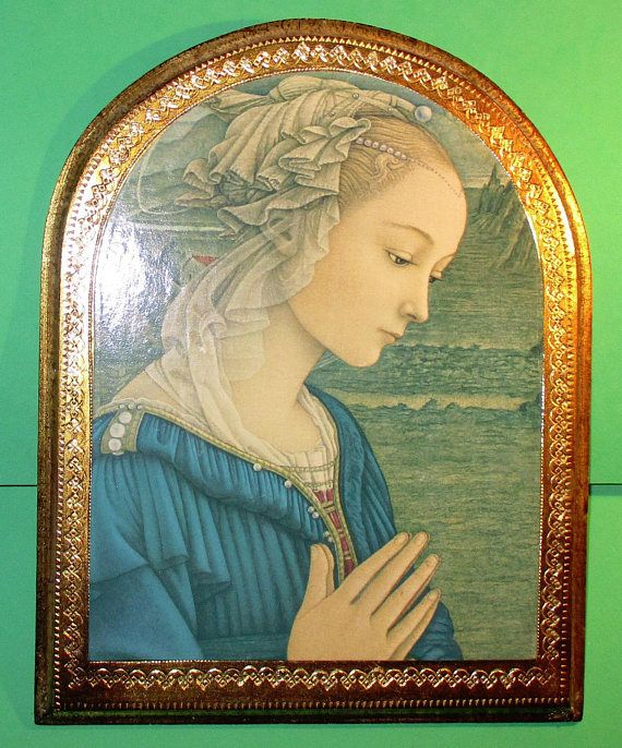 Vintage Praying Blessed Virgin Mary Wall Plaque with Golden   Items ...