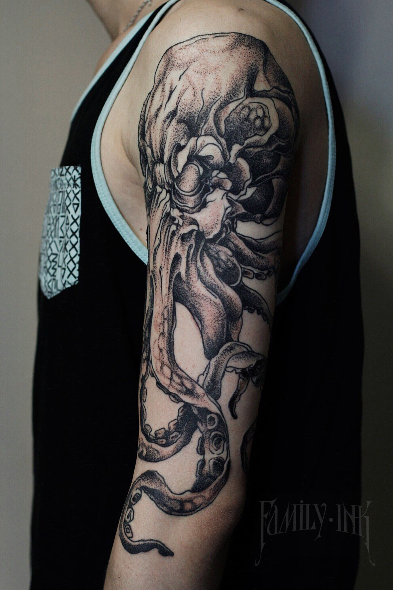 Octopus tattoo sleeve/arm by Family Ink #blackworkers #blacktattooart #blackworktattoo
