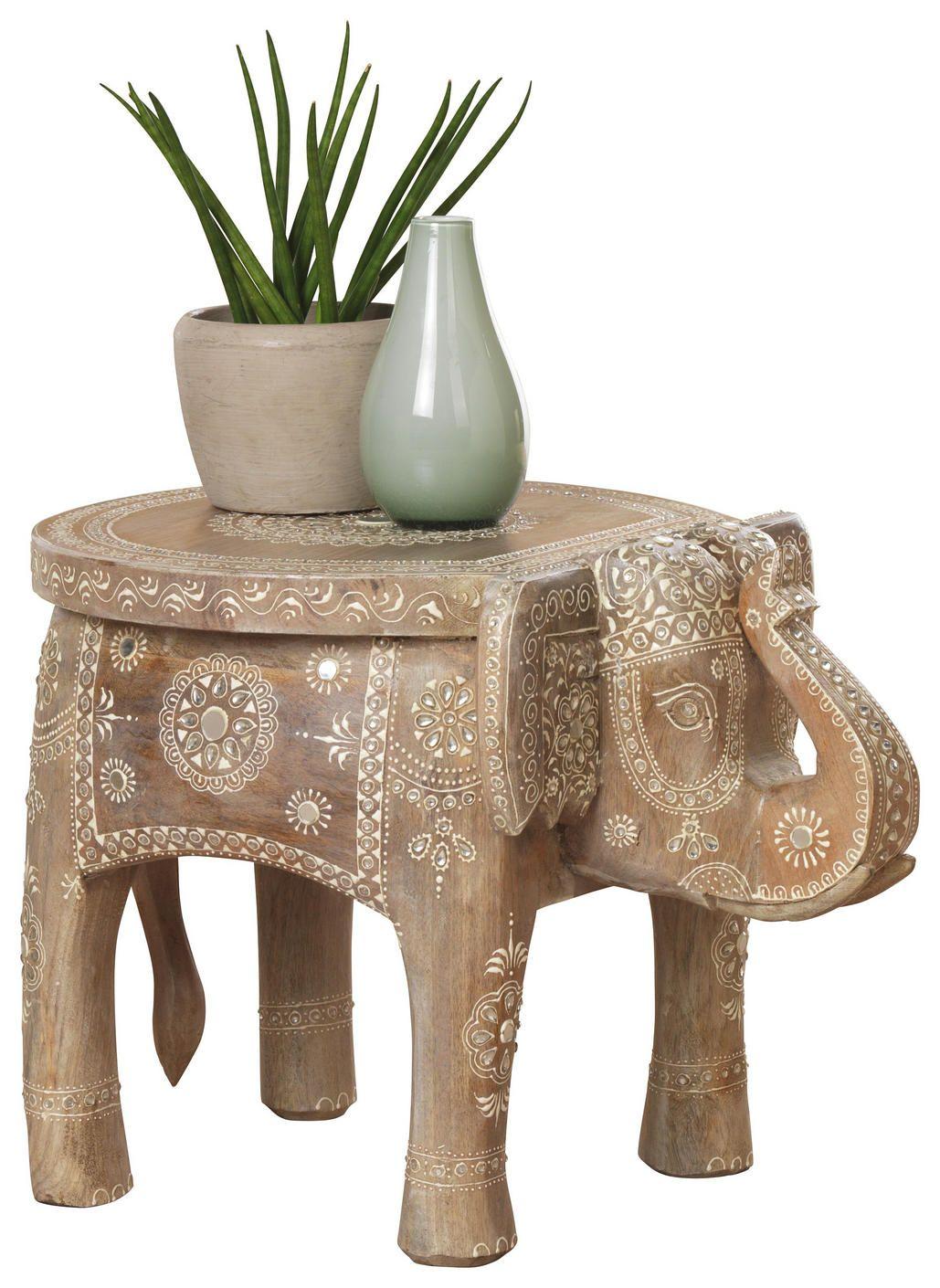 Orientalischer Beistelltisch Elefant Mit Afrikanischem Muster