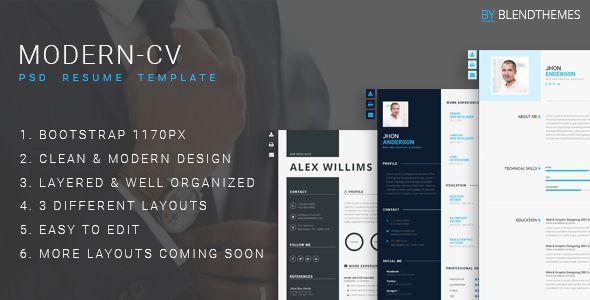 Modern-CV - Personal Resume Template Psd templates and Wordpress - personal resume template