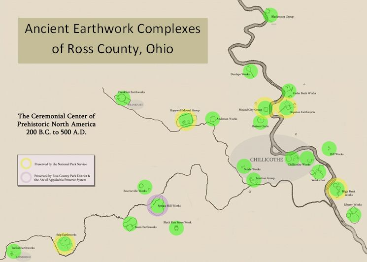 Map Of Earthworks In Ross County Ross County Ohio Pinterest