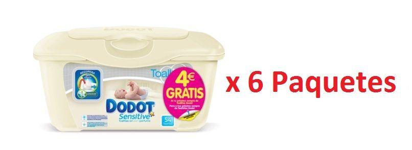 ae0109bd1 Chollo! Pack 6 paquetes Toallitas para bebés Dodot Sensitive